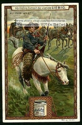Cowboys On A Cattle Roundup GREAT1907 Trade Ad Card