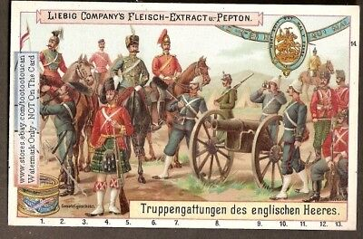 English Army Uniforms And Medals NICE 1898 Trade Ad Card
