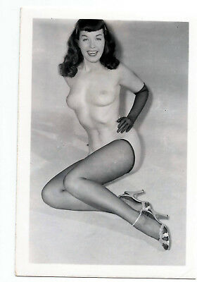 Original Vintage Nude Photograph, Bettie Page Black Gloves and Stockings