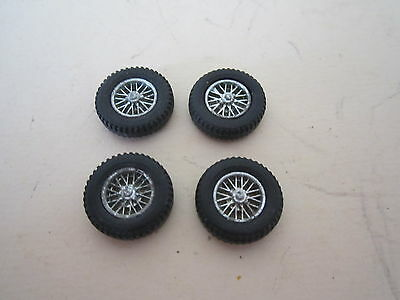 Dinky Toys Spares. 1:43? set of 4 Silver spoked wheels & tyres 15mm