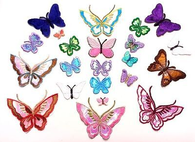 20 Iron On, Stick On Fabric Butterfly Motifs, Craft, Sewing, Embroidery, Patches