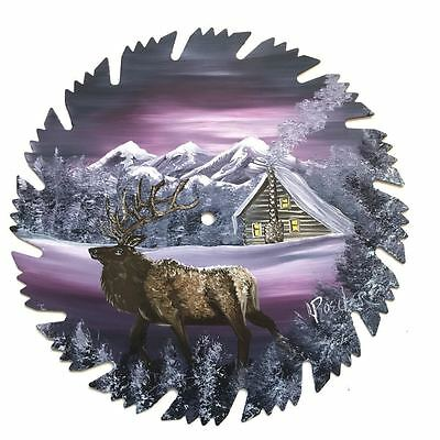 Hand Painted Saw Blade Art Mountain Mauve Winter Log Cabin and ELK 9 1/4 Inch