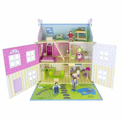 Wooden Blue Villa Dolls House With 30 Pieces Of Furniture & Dolls Leomark