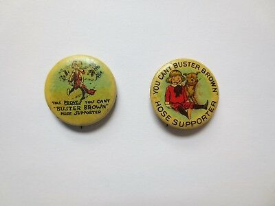 Two Celluloid Pinbacks Advertising Buster Brown Hose Supporters