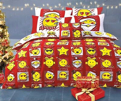Xmas Emoji Expression Red White Reversible Duvet Cover Bedding Set Single Double