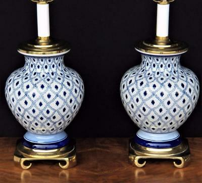 Pair: Chinoiserie Asian Style Blue/White Ceramic and Brass Table Lamp