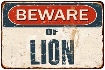 BEWARE OF LION Rustic Look Chic Sign Home Décor Gift 8x12 Sign 81201051