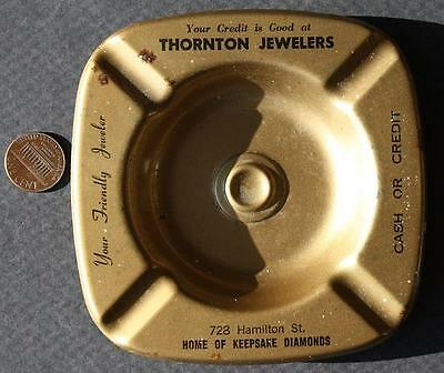 1950-60s Era Allentown,Pennsylvania Thornton Jewelers metal ashtray-VINTAGE!