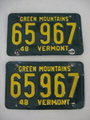 Pair 1948 Vermont License Plates, Number 65967,gold On Green,green Mountains