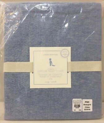 NWT Pottery Barn Kids Blue LINEN TODDLER Duvet Cover
