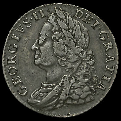 1758 George II Early Milled Silver Shilling, VF #3
