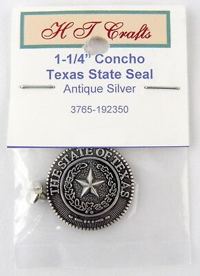 """1-1/4"""" Texas State Seal Concho (Screwback) - Antique Silver"""