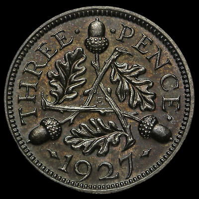 1927 George V Silver Proof Threepence, Scarce, aFDC
