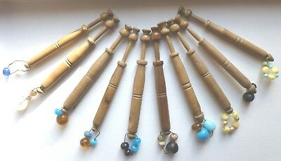 VINTAGE WOODEN LACEMAKING BOBBINS with SPANGLES