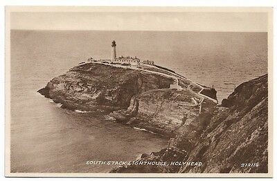 [2910] Anglesey Sepia Postcard South Stack Lighthouse Hoyhead