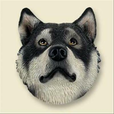 Alaskan Malamute Dog Head Painted Stone Resin MAGNET