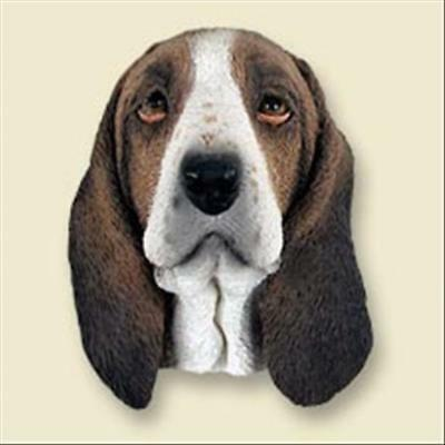 Basset Hound Dog Head Painted Stone Resin MAGNET