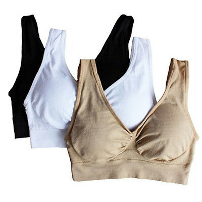 3Pcs Seamless Padless Bra Women ladies Sports Yoga Bra Crop Top Vest Comfort Bra