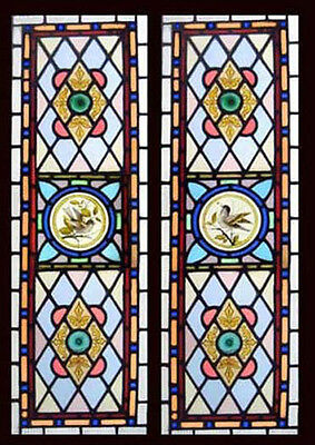 Antique Victorian Stained Glass Windows PAINTED BIRDS