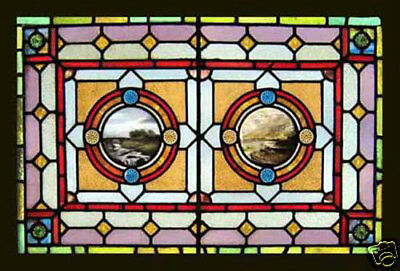 Antique Stained Glass Window RARE PAINTED MASTERPIECE