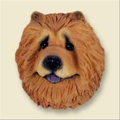 Chow Chow Red Dog Head Painted Stone Resin MAGNET