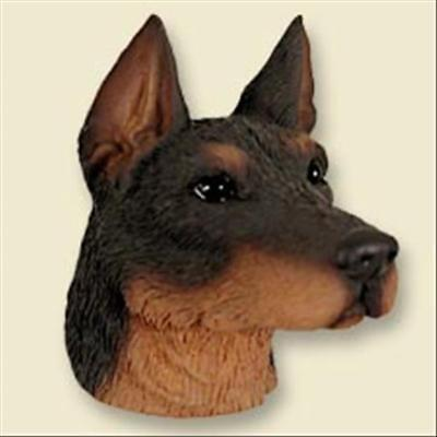 Doberman Pinscher Red Cropped Ears Dog Head Painted Stone Resin MAGNET