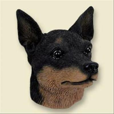 Miniature Pinscher Black and Tan Dog Head Painted Stone Resin MAGNET
