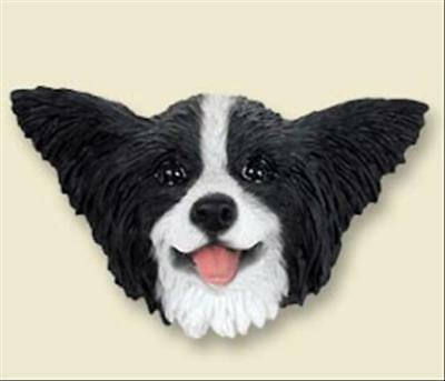 Papillon Black and White Dog Head Painted Stone Resin MAGNET