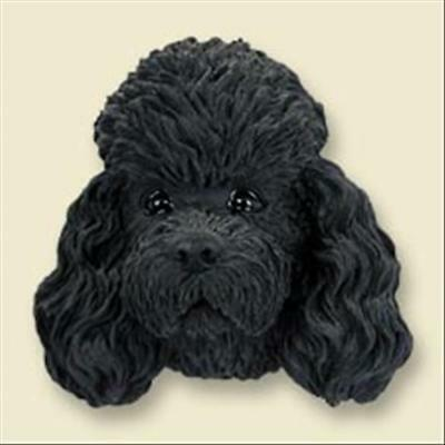 Poodle Black Sport Cut Dog Head Painted Stone Resin MAGNET