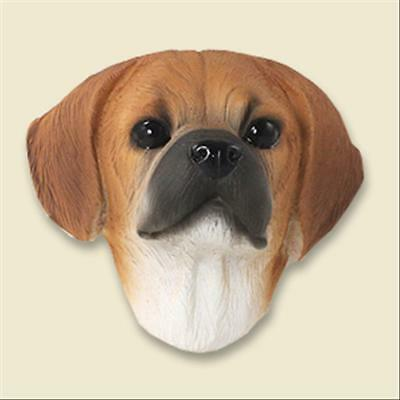 Puggle Dog Head Painted Stone Resin MAGNET