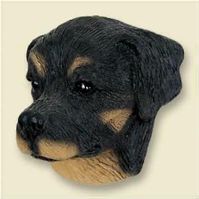 Rottweiler Dog Head Painted Stone Resin MAGNET