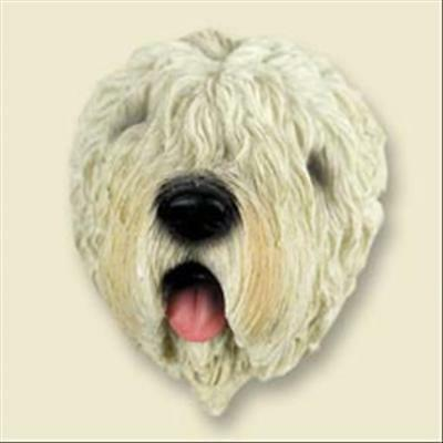 Soft Coated Wheaten Terrier Dog Head Painted Stone Resin MAGNET