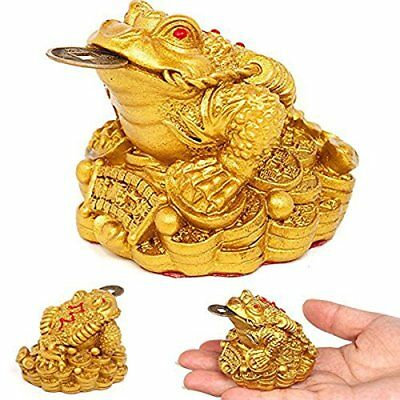 Feng Shui Money Lucky Fortune Oriental Chinese Wealth Frog Frog Toad Coin Decor