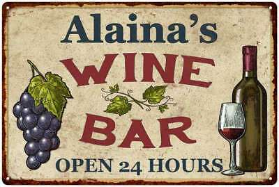 Alaina's Wine Bar Rustic Look Chic Sign Home Décor Gift 12x18 Sign M2182276
