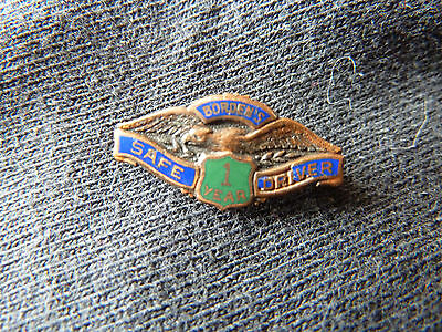 Vintage Borden,s 1 Years Safe Driver Pin!!!