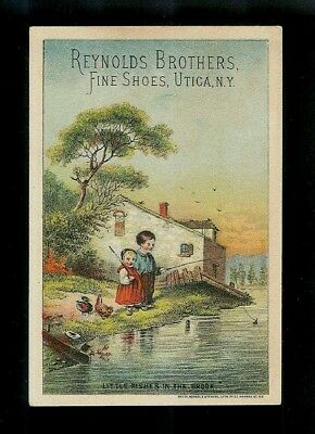 Little Children Fishing In The Brook-1880s Victorian Trade Card