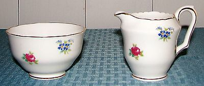 Crown Staffordshire Eng Bone China Floral Bouquet Mini Sugar & Creamer Set EXC