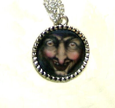 Halloween The Wicked Witch Evil Face Hand Crafted Pendant Necklace Snow White