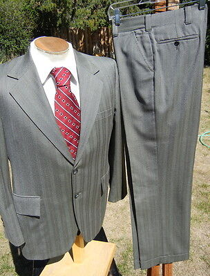 Late 60s Worsted Wool Pinstripe Suit 42S 34x29 a Smooth, Strong Look & Alterable