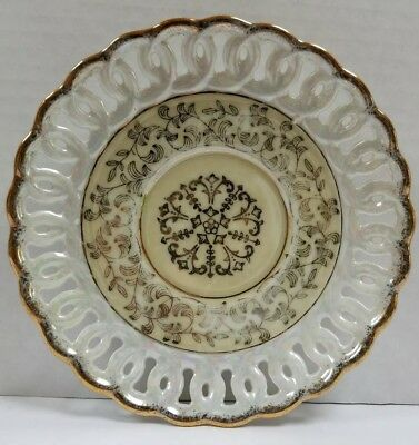 "Reticulated 6 "" Dish Plate Vine Pattern Gold Edge # 2684"