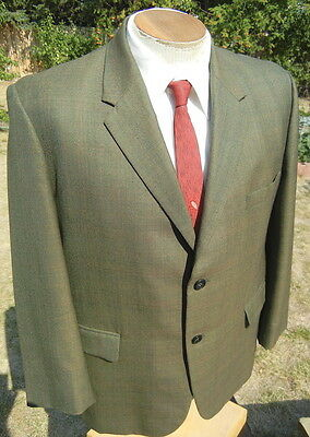 Vintage 1960s MADMEN Suit Jacket Sport Coat 42XS - Custom Tailored - Moss Green