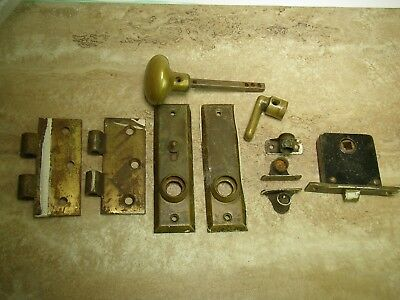 Lot of 10 Antique Brass Hardware: Door Knob, Drawers, Curtains, 2 Hinges