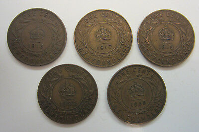5 Newfoundland One Cent Coins '13, '17, '19, '29, '36 Edward VII - Free Shipping