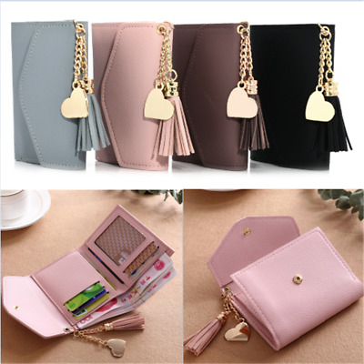 Mini Women's Tassel Wallet Card Holder Clutch Coin Purse Leather Handbag Purse