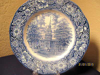 """Staffordshire  """"liberty Blue"""" 4 Great Dinner Plates  Independence Hall $64 Value"""