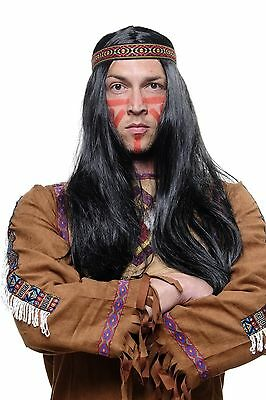 Wig Indian/Red Indian Woman Squaw Black 23 5/8in Long Smooth with Head Band