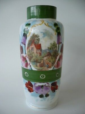 Antique Hand Painted Glass Vase Floral & Country Scene