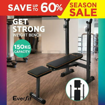 Everfit Multi-Station Weight Bench Press Curl Home Gym Weights Equipment Flat GY
