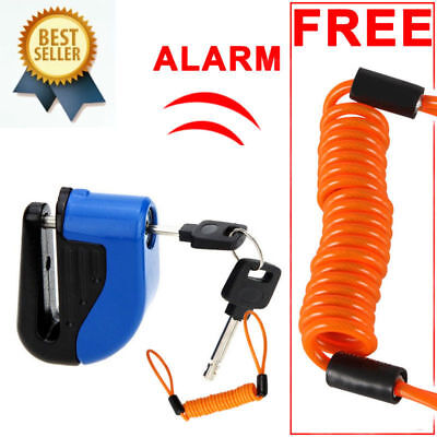 Security Disc Lock Alarm & 1.5m Reminder Cable for Motorbike, Scooter, Bike