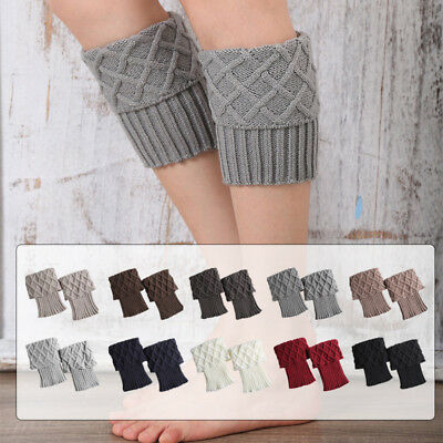 Fancy Crochet Knitted Leg Warmers Boot Cuffs Toppers Winter Short Boots Stocks
